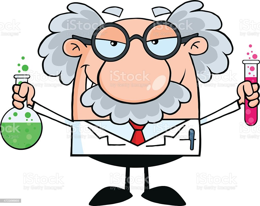 Mad Professor Holding A Bottle And Flask With Fluids royalty-free stock vector art
