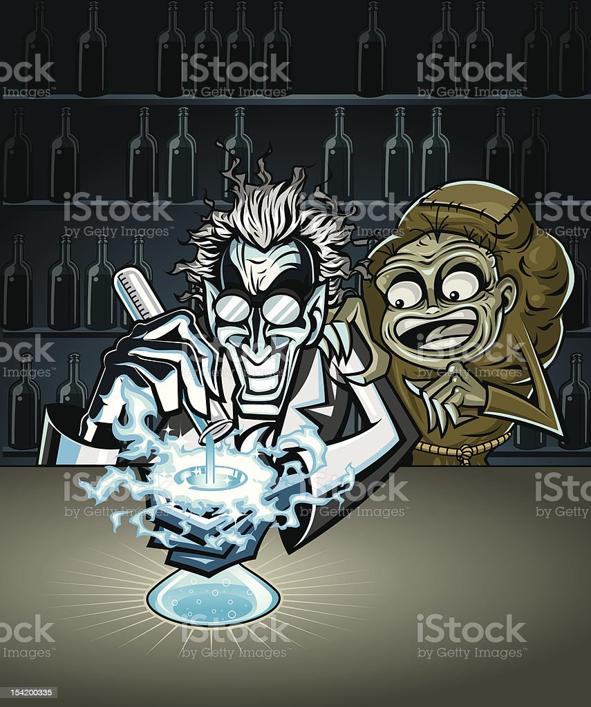 Mad Scientist Experimenting with Igor alongside royalty-free stock vector art
