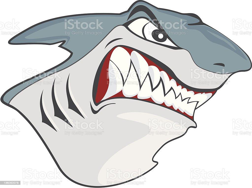 mad shark showing teeth royalty-free stock vector art