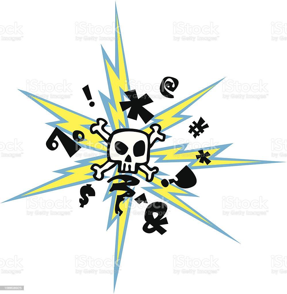 Mad Skull vector art illustration