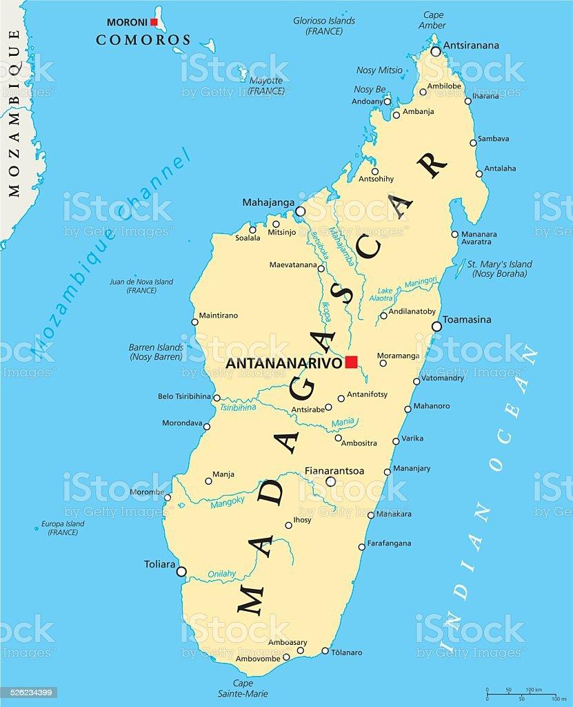 Madagascar Political Map vector art illustration