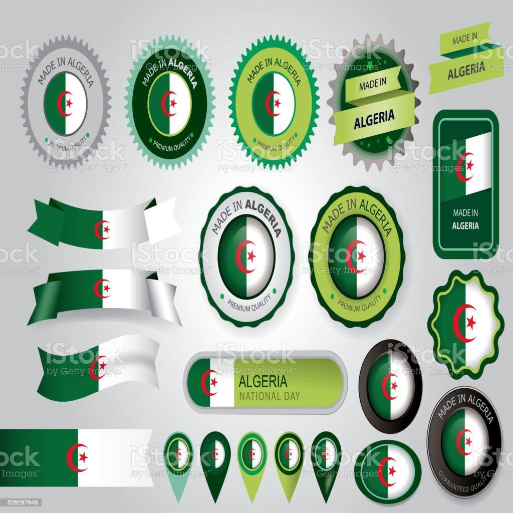 Made in Algeria Seal, Algerian Flag (Vector Art) vector art illustration