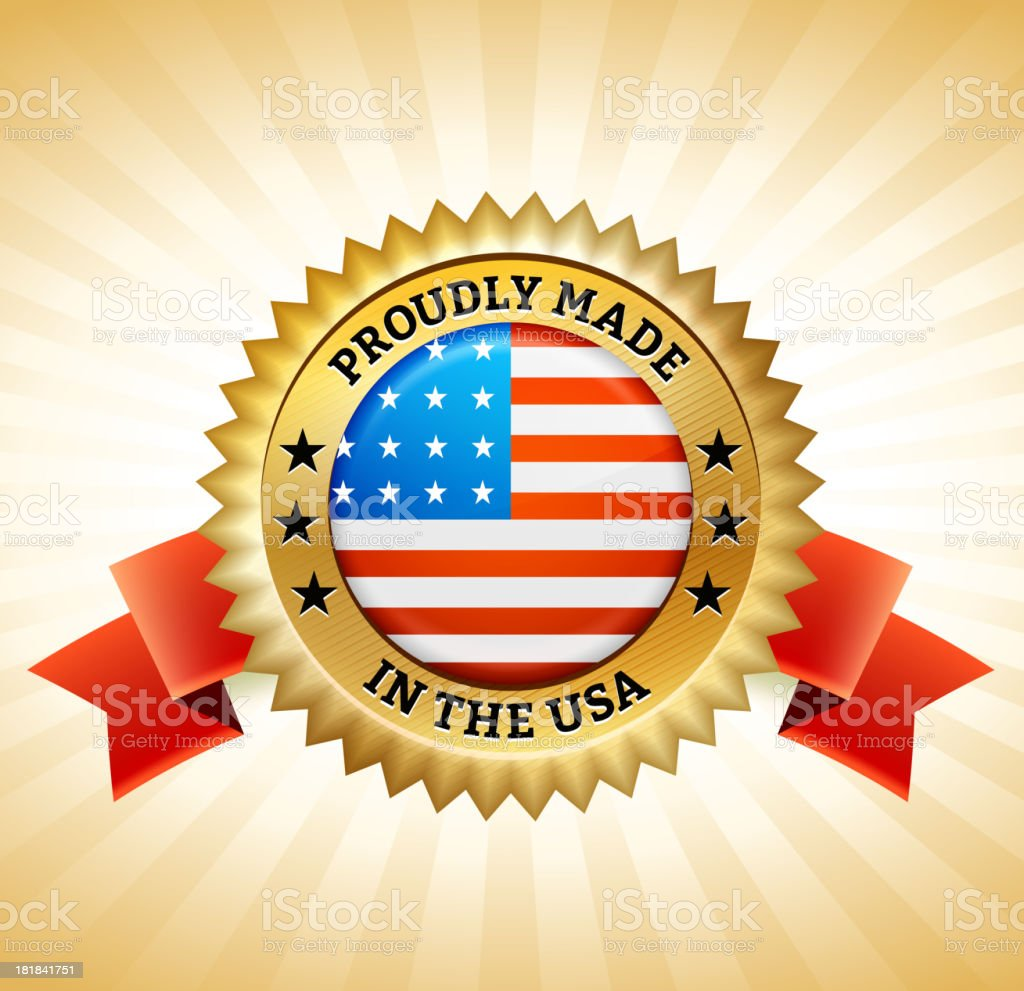 Made in America Gold Badge royalty-free stock vector art