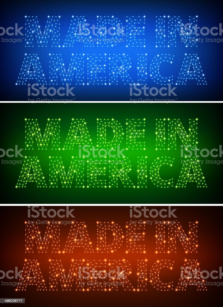 Made in America on triangular nodes connection structure vector art royalty-free stock vector art