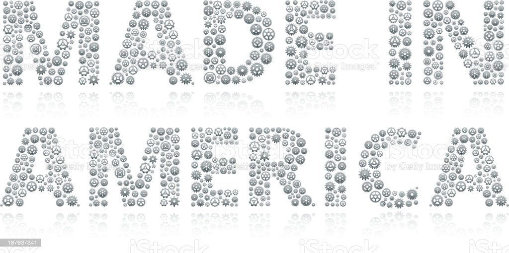 Made In America with Vector Gears on White Background royalty-free stock vector art