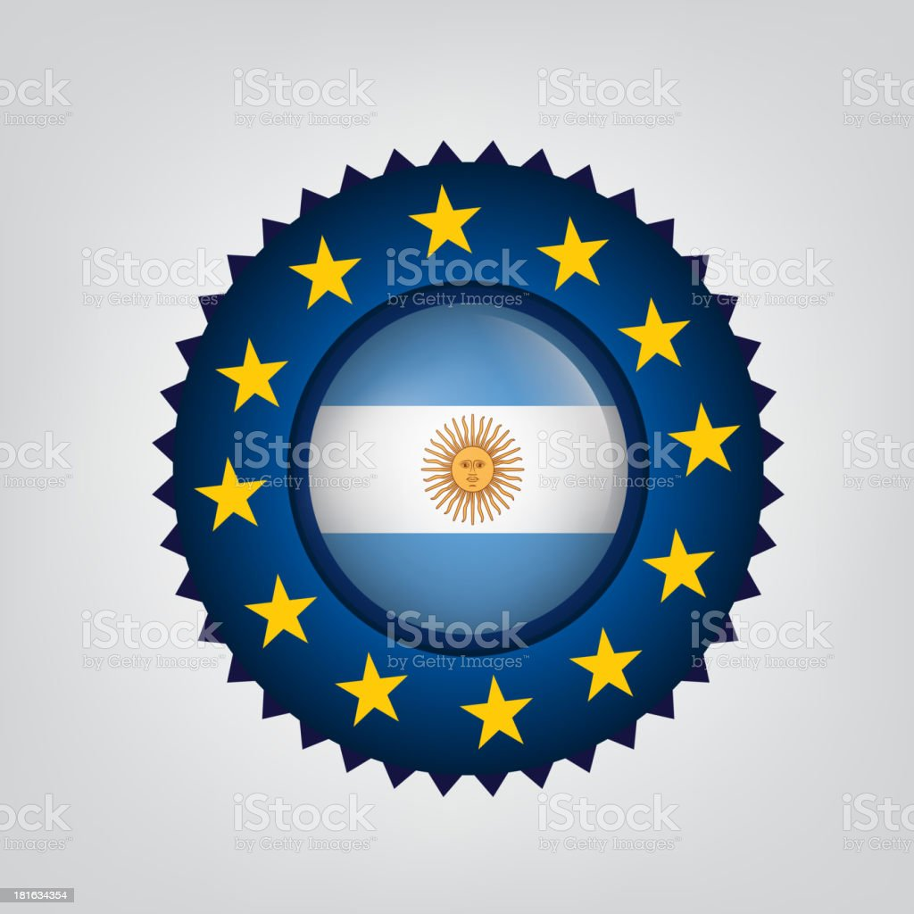 Made in ARGENTINA, EU seal, Flag, (Vector) royalty-free stock vector art