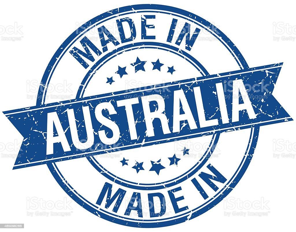 made in Australia blue round vintage stamp vector art illustration