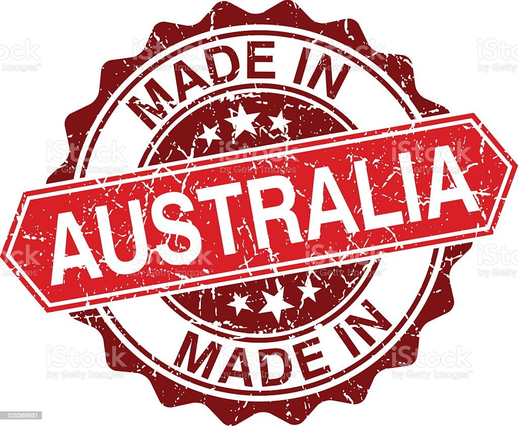 made in Australia red stamp isolated on white background vector art illustration