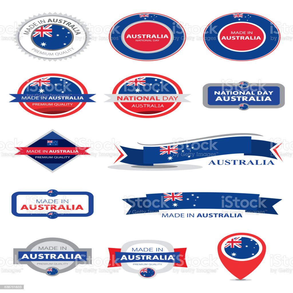 Made in Australia Seal Collection, Australian Flag (Vector Art) vector art illustration