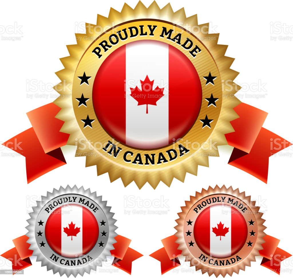 Made in Canada Badge royalty free vector icon set royalty-free stock vector art