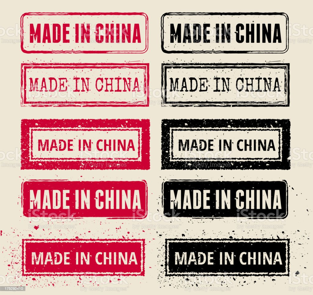 Made in China Red and Black Rubber Stamps vector art illustration