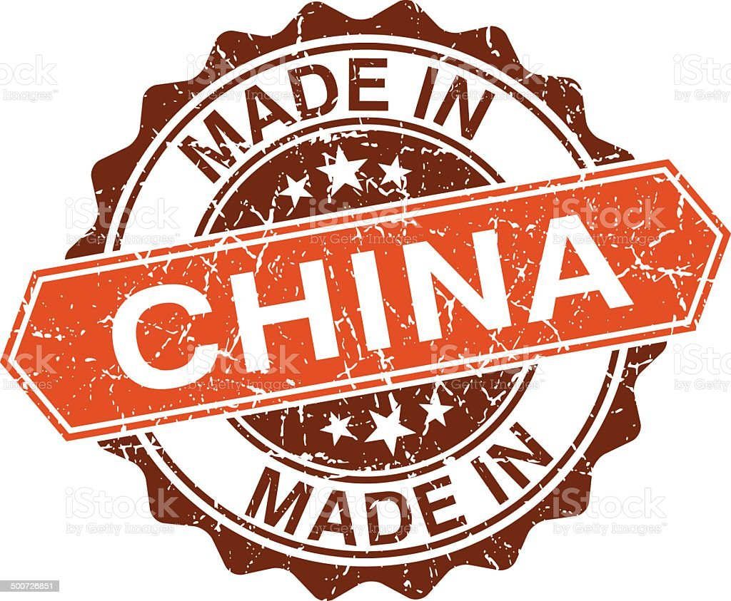 made in China vintage stamp isolated on white background vector art illustration