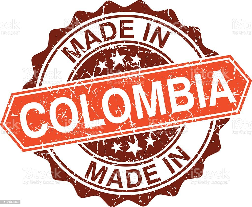 made in Colombia vintage stamp isolated on white background vector art illustration