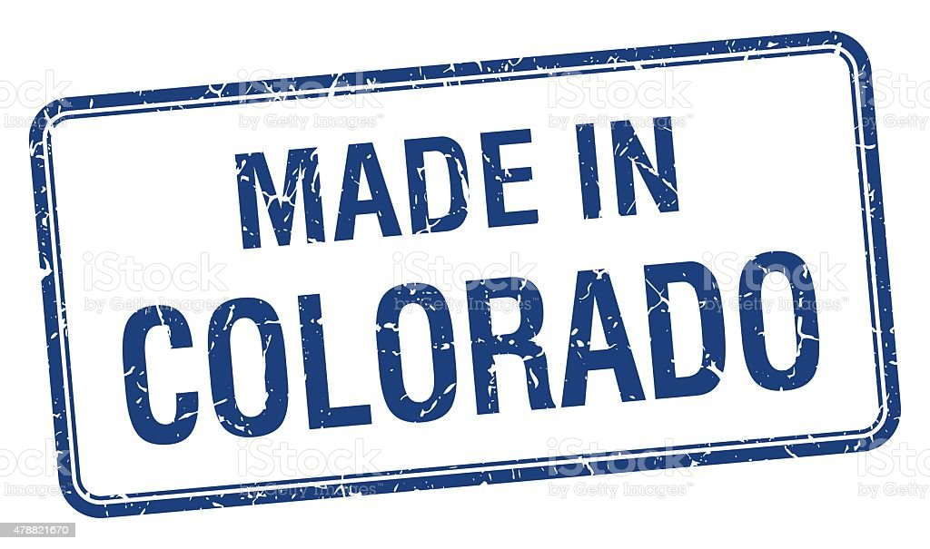 made in Colorado blue square isolated stamp vector art illustration