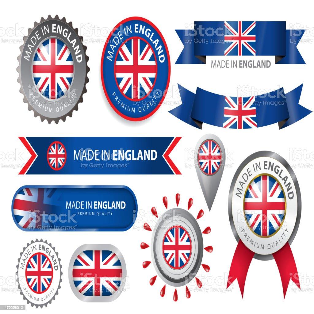 Made in England Seal, England Flag (Vector Art) vector art illustration