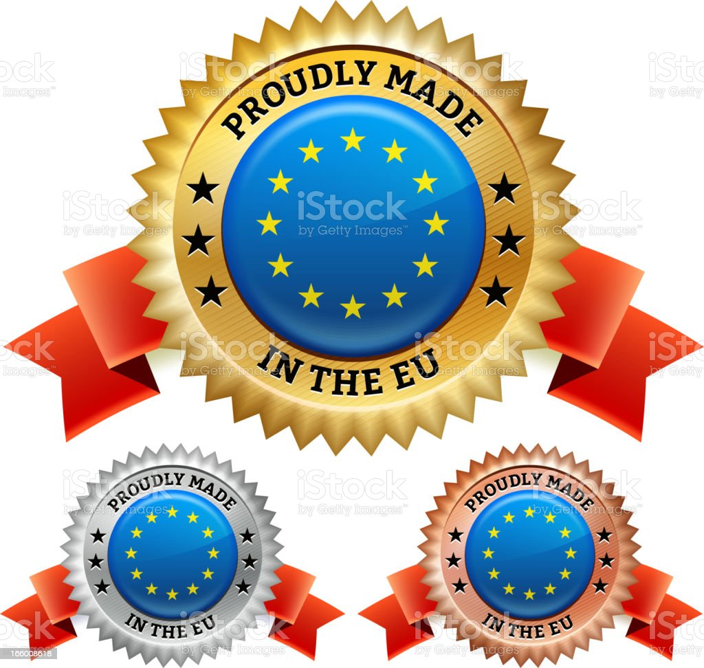 Made in European Union Badge royalty free vector icon set royalty-free stock vector art