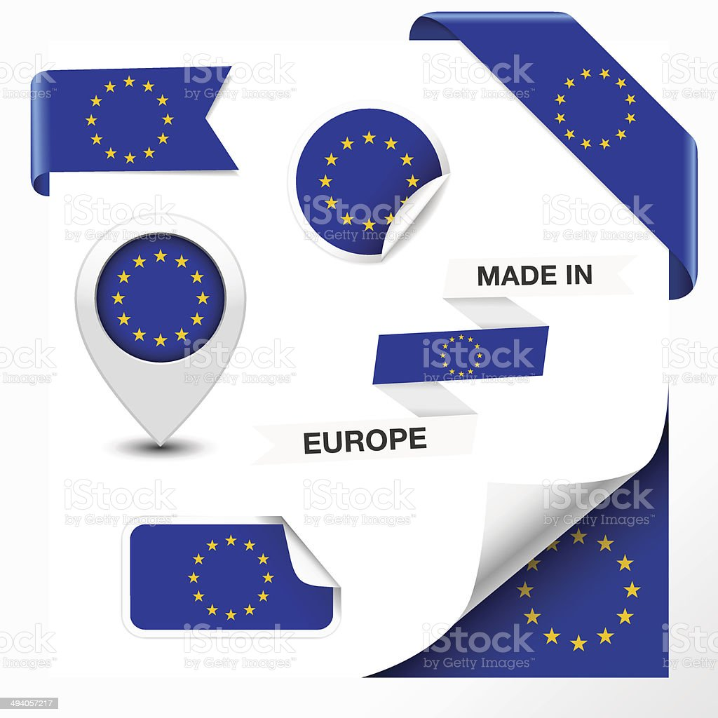 Made In European Union Collection vector art illustration