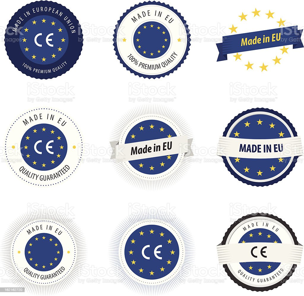 Made in European Union labels, badges and stickers royalty-free stock vector art