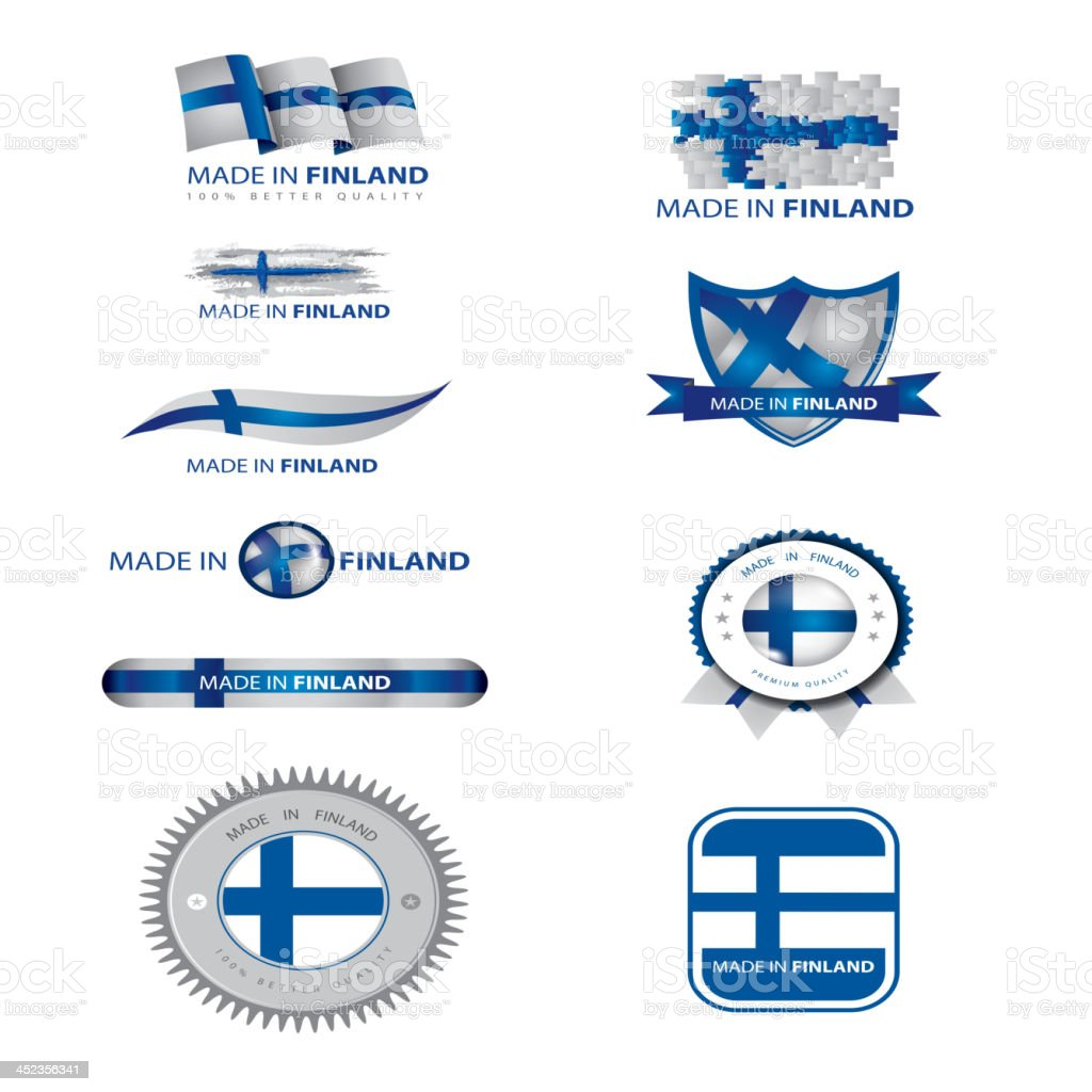 made in Finland, finnish flag, seals royalty-free stock vector art