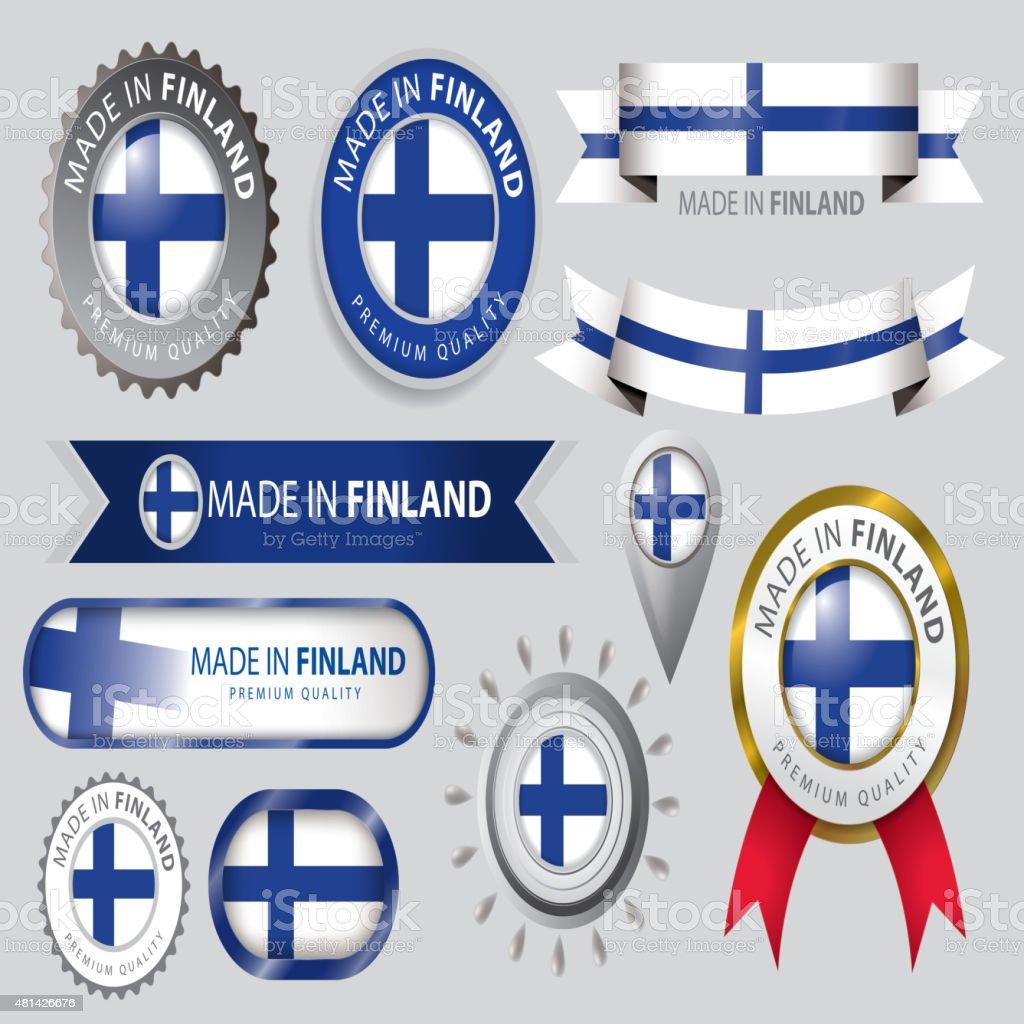 Made in Finland Seal Collection, Finnish Flag (Vector Art) vector art illustration