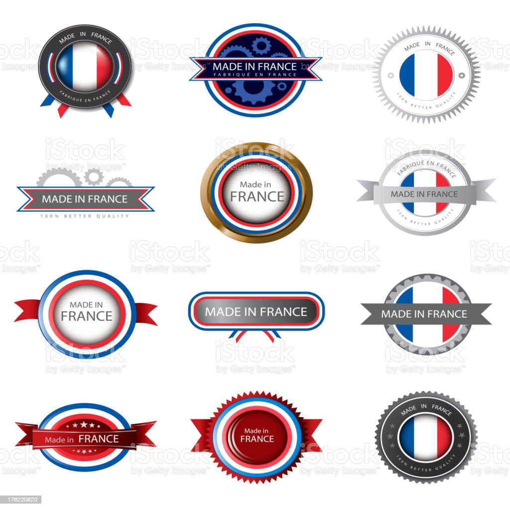 Made in France, French flag, seals royalty-free stock vector art