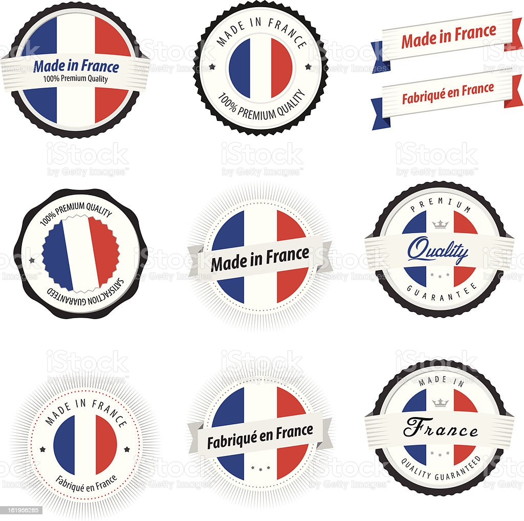 Made in France. Set of labels, badges and stickers royalty-free stock vector art