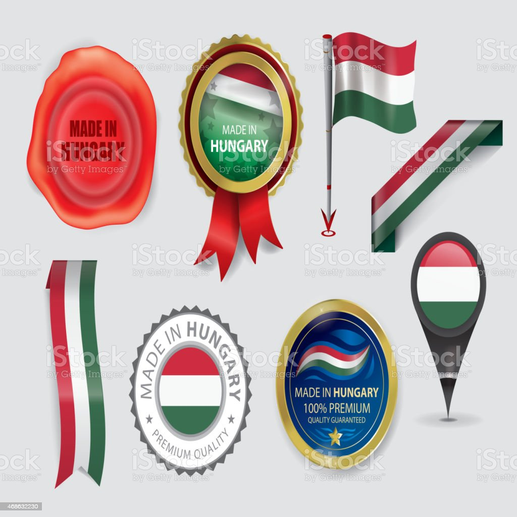Made in Hungary Seal Collection, Hungarian Flag (Vector Art) vector art illustration