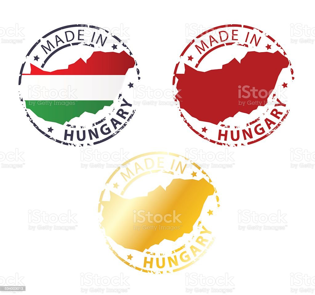 made in Hungary stamp vector art illustration