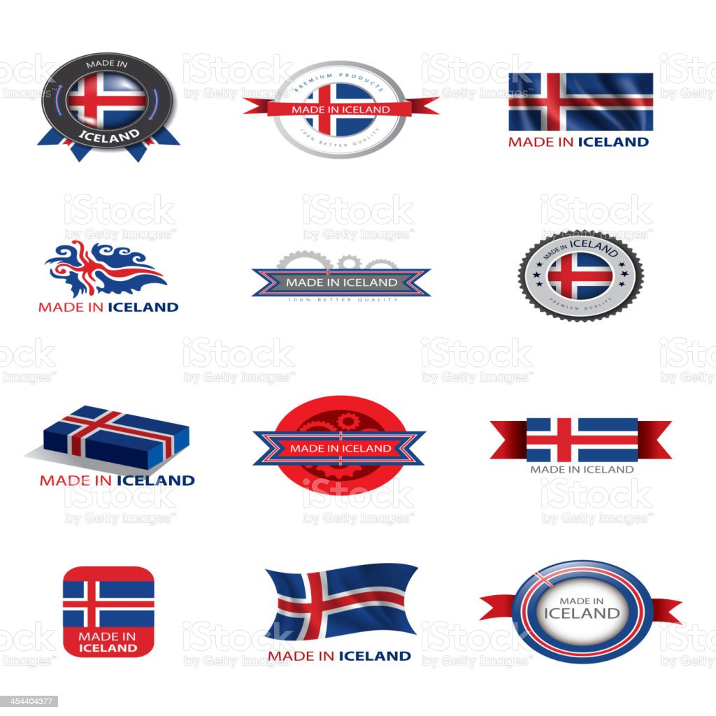 Made in Iceland, flags, stamps royalty-free stock vector art