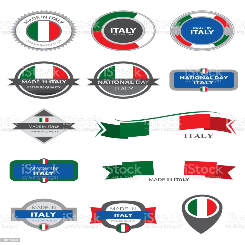 Made in Italy Seal Collection, Italian Flag (Vector Art) vector art illustration