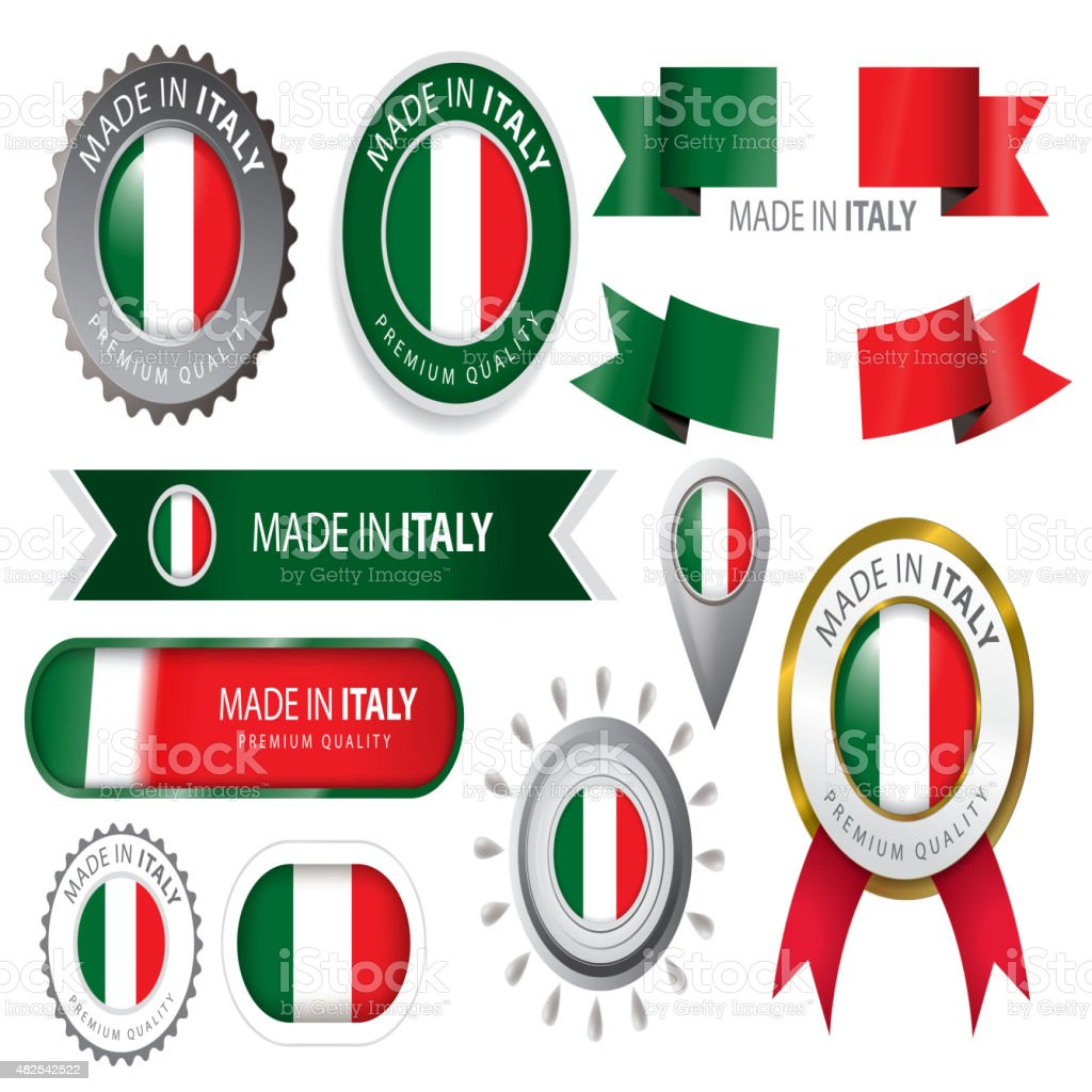 Made in Italy Seal, Italian Flag (Vector Art) vector art illustration