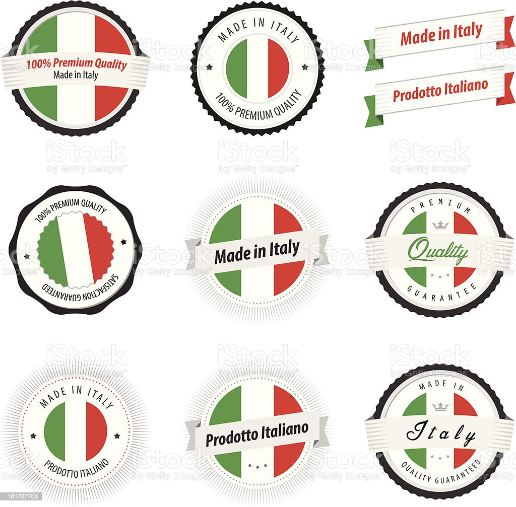 Made in Italy. Set of labels and badges vector art illustration