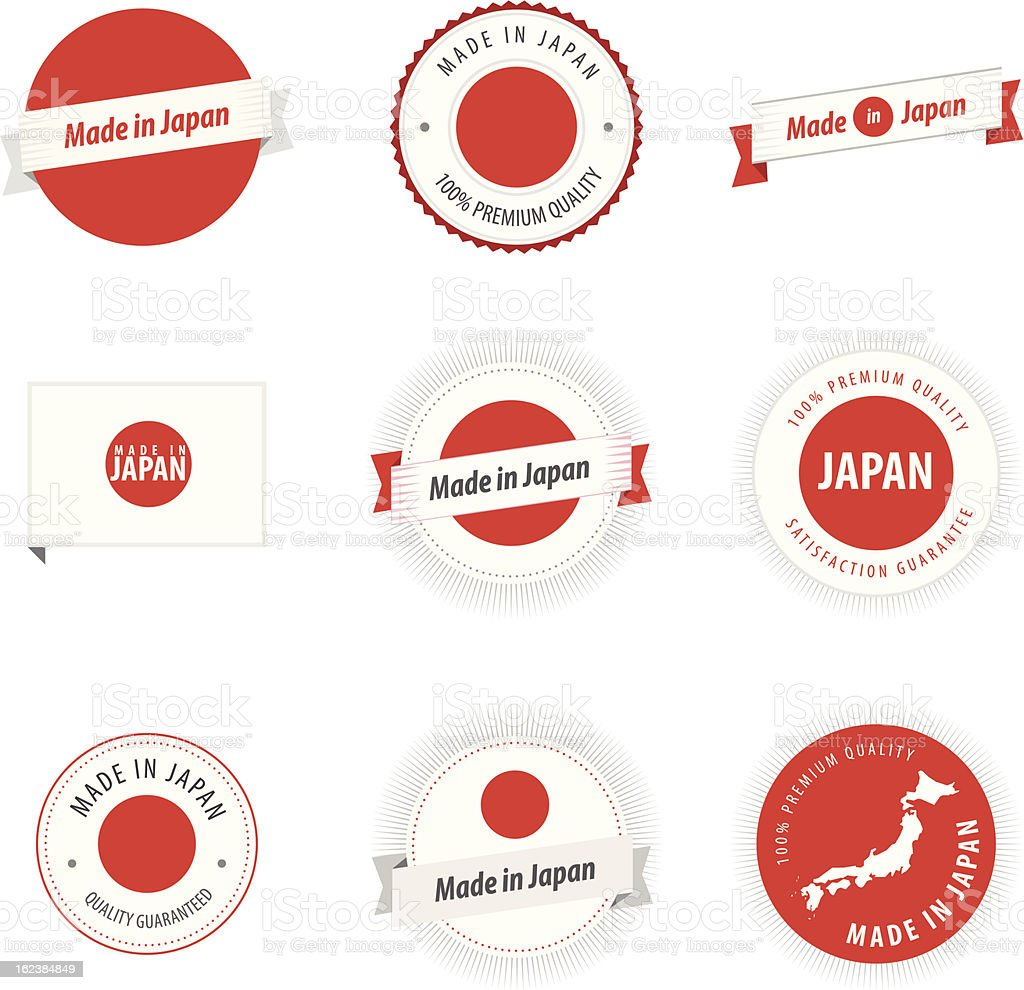 Made in Japan labels, badges and stickers royalty-free stock vector art