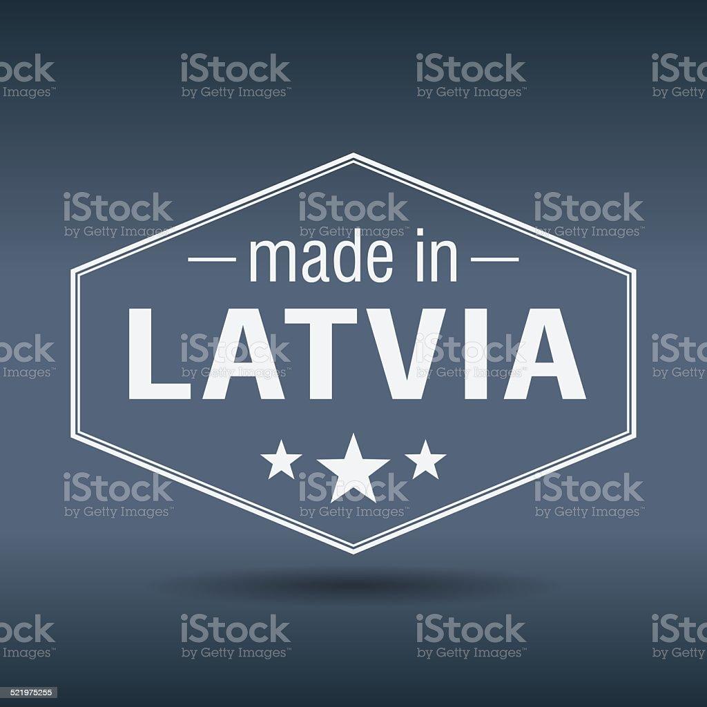 made in Latvia hexagonal white vintage label vector art illustration