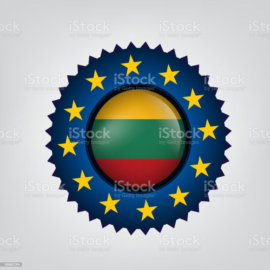 Made in LITHUANIA, EU seal, Flag, (Vector) royalty-free stock vector art