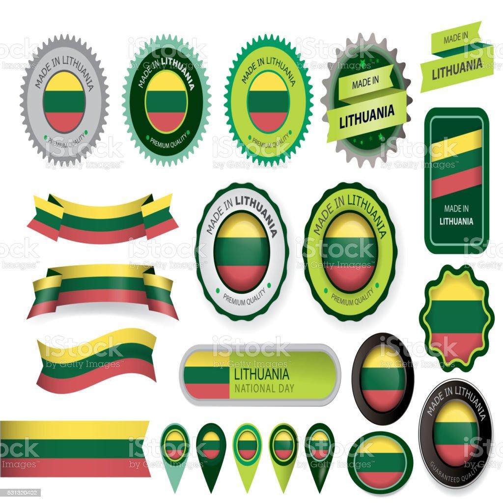 Made in Lithuania Seal, Lithuanian Flag (Vector Art) vector art illustration