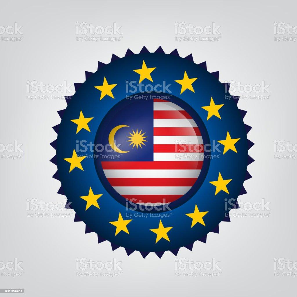 Made in MALAYSIA, EU seal, Flag, (Vector) royalty-free stock vector art
