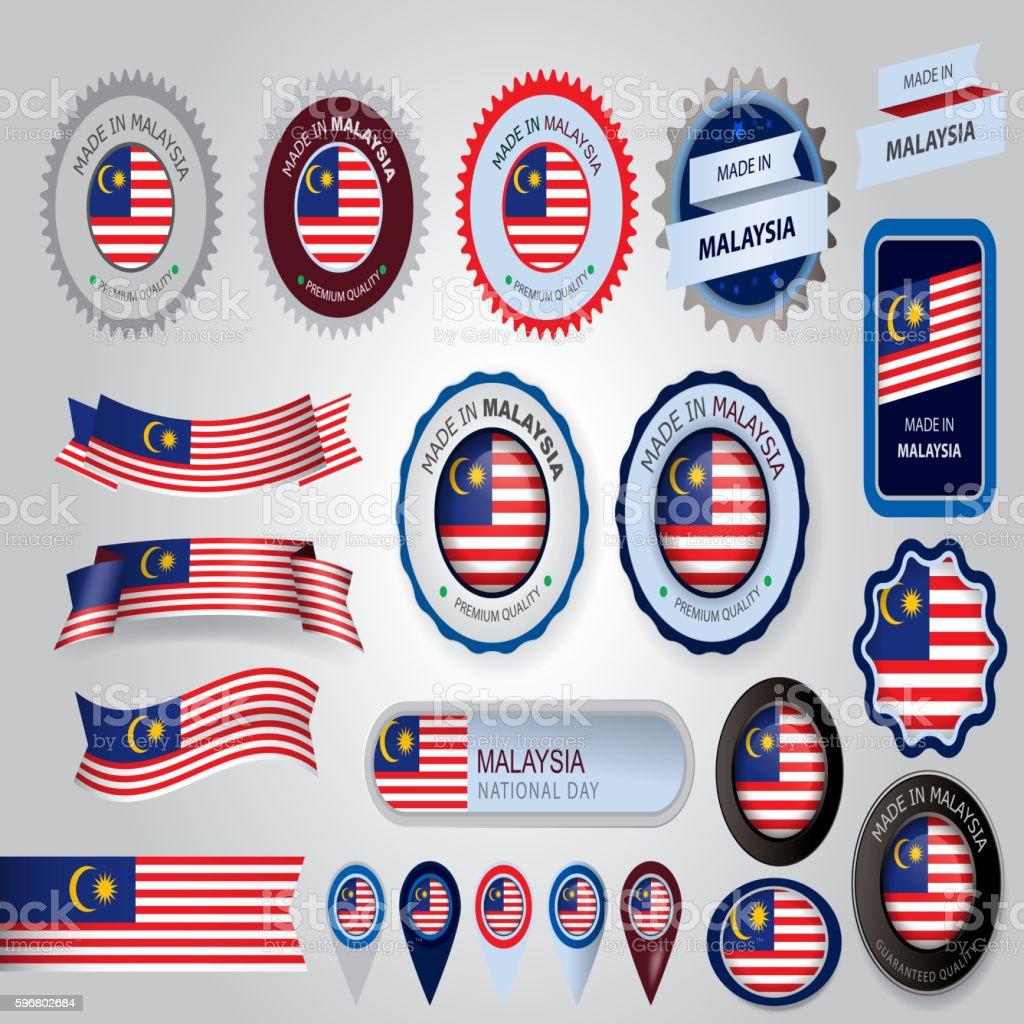 Made in Malaysia Seal, Malaysian Flag (Vector Art) vector art illustration