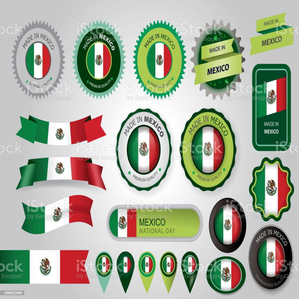 Made in Mexico Seal, Mexican Flag (Vector Art) vector art illustration