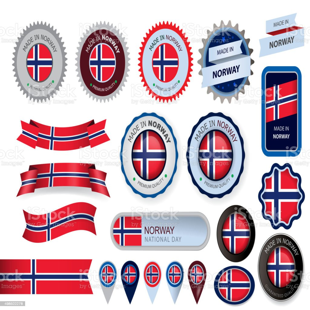 Made in Norway Seal, Norwegian Flag (Vector Art) vector art illustration