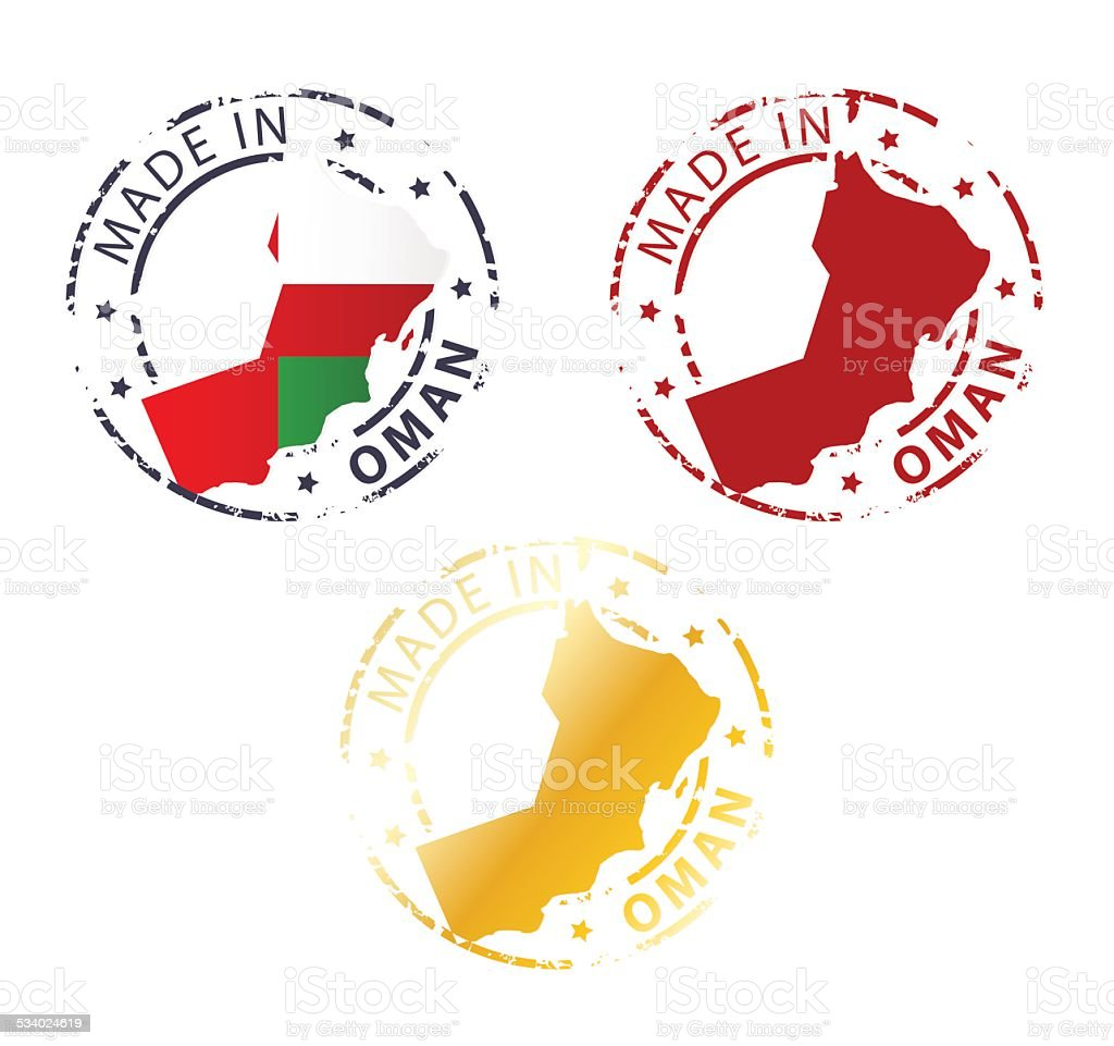 made in Oman stamp vector art illustration