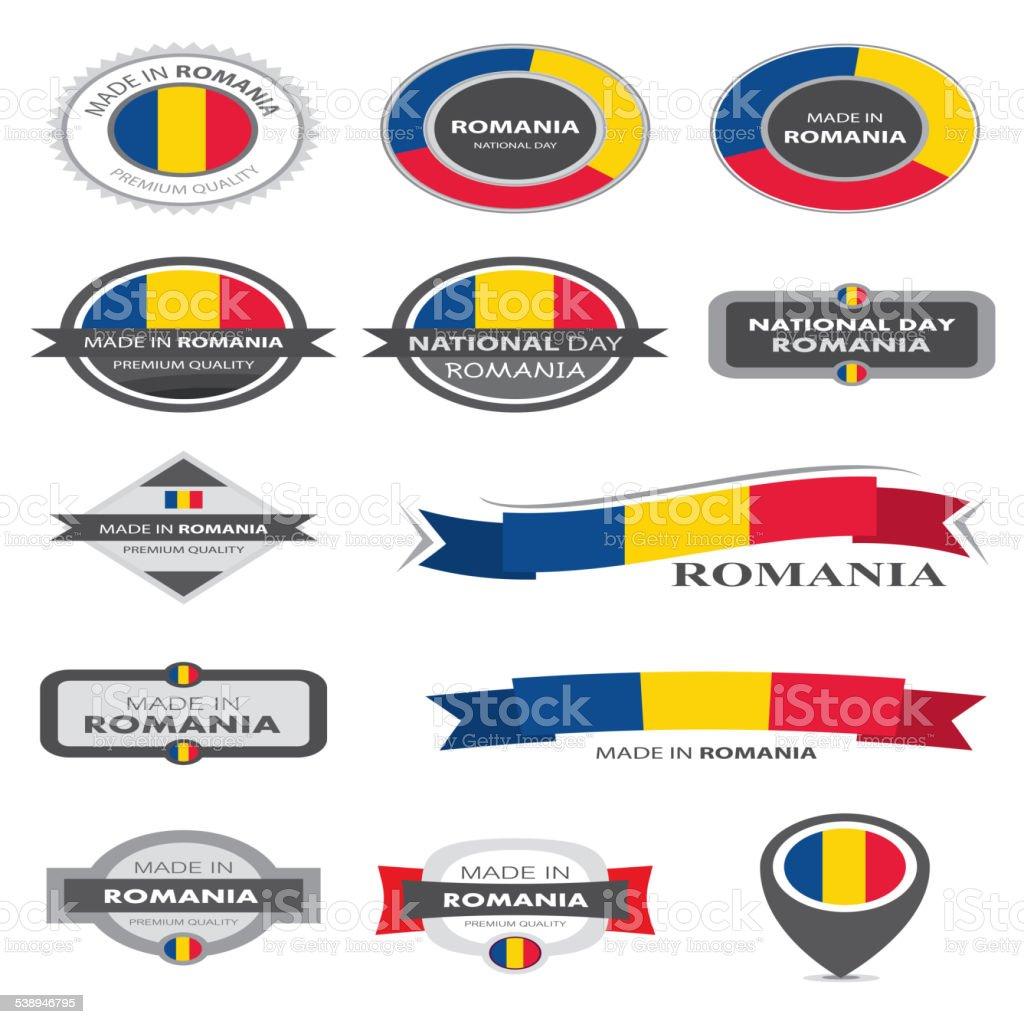 Made in Romania Seal Collection, Romanian Flag (Vector Art) vector art illustration