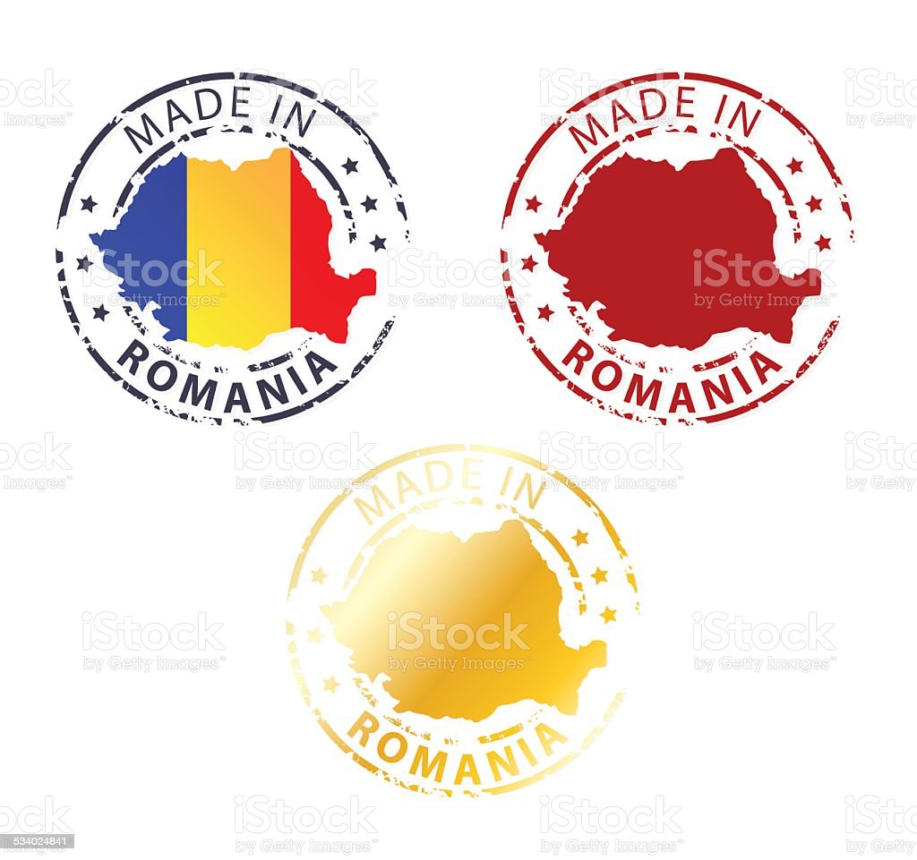 made in Romania stamp vector art illustration