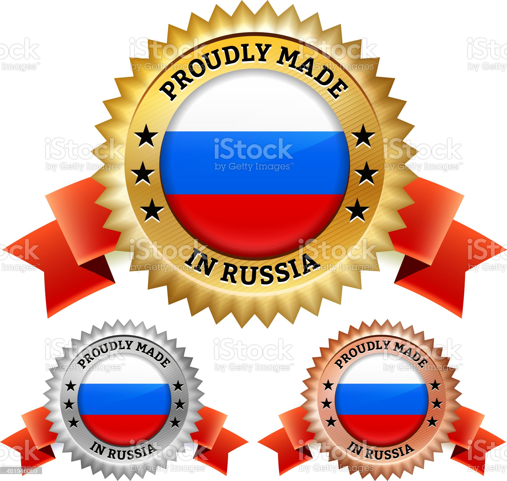 Made in Russia Badge royalty free vector icon set royalty-free stock vector art
