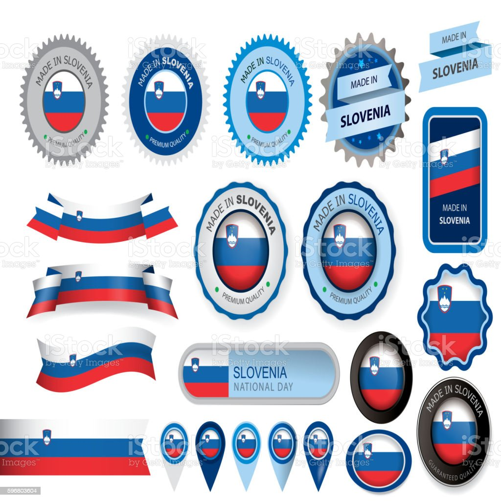 Made in Slovenia Seal, Slovenian Flag (Vector Art) vector art illustration