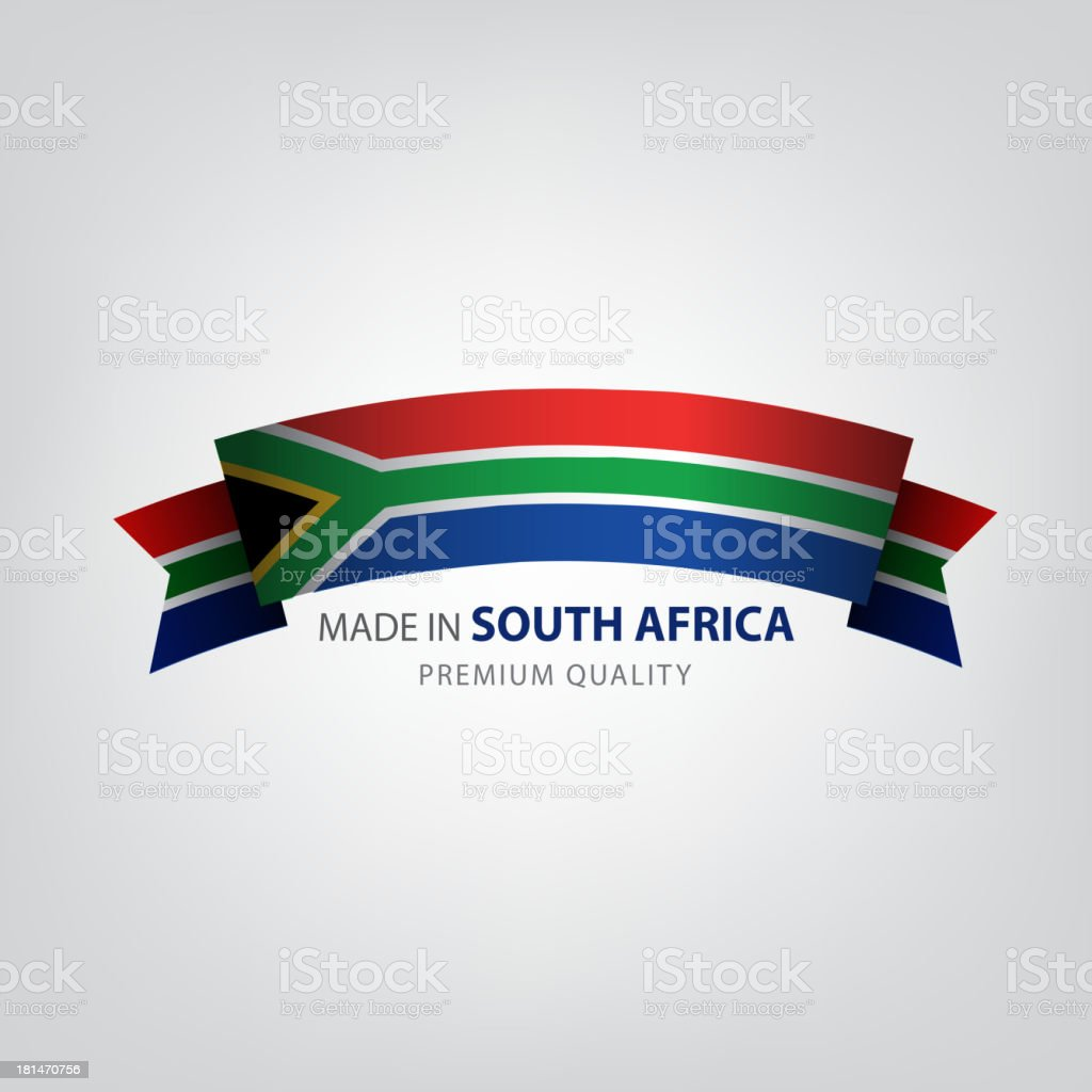 Made in South Africa, S. African ribbon, Flag, (Vector) royalty-free stock vector art