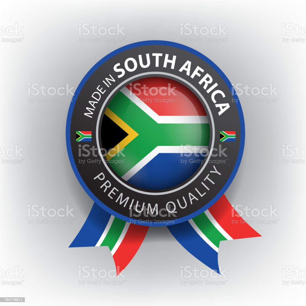 Made in South Africa, S. African seal, Flag, (Vector) royalty-free stock vector art
