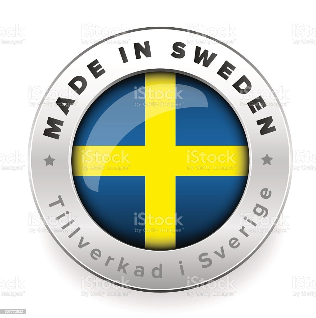 Made in Sweden button with swedish translation vector art illustration