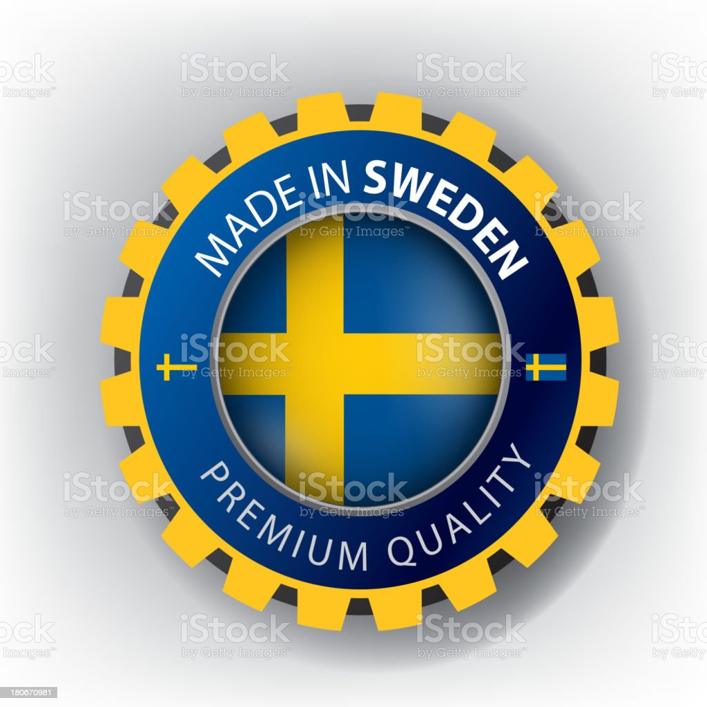 Made in Sweden, Swedish seal, Flag, (Vector) royalty-free stock vector art