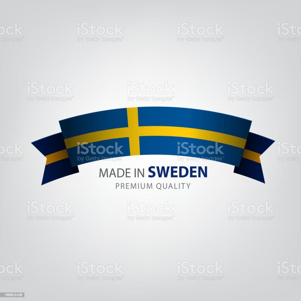 Made in Sweden, Swedish seal, Flag, (Vector) vector art illustration